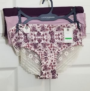 New! LUCKY brand purple floral lace cheeky panties